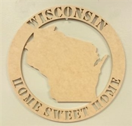 Circle Home Sweet Home State Wooden Art DIY Craft MDF
