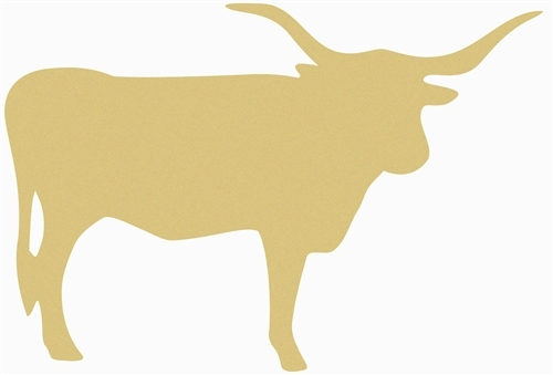 Longhorn Cow Unfinished Cutout, Wooden Shape, Paintable Wooden MDF