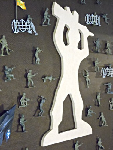 Machine Gun Man Unfinished Cutout, Wooden Shape, Paintable MDF  Craft
