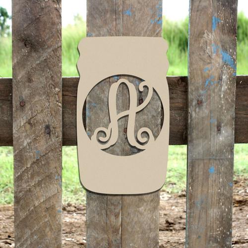 Mason Jar Frame Letter Monogram Unfinished DIY Craft