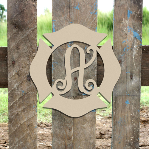 Fireman Badge Monogram Wooden Letter DIY Unfinished Crafts