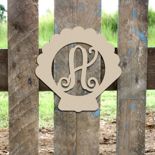Seashell Frame Letter Monogram Wooden Unfinished DIY Craft