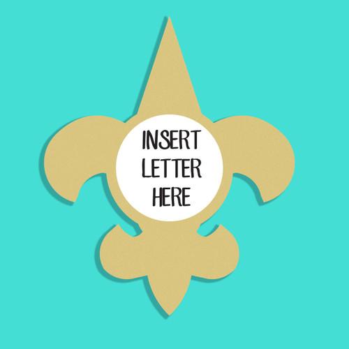 Fleur de Lis Frame Letter Insert Wooden Monogram Unfinished DIY Craft