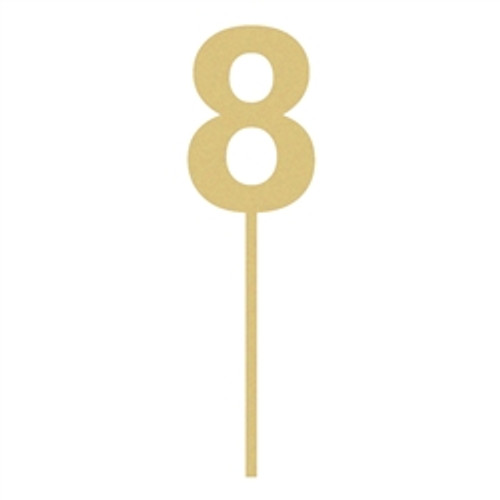 Rockwell Number Cake topper With Stick Wooden Unfinished DIY Craft