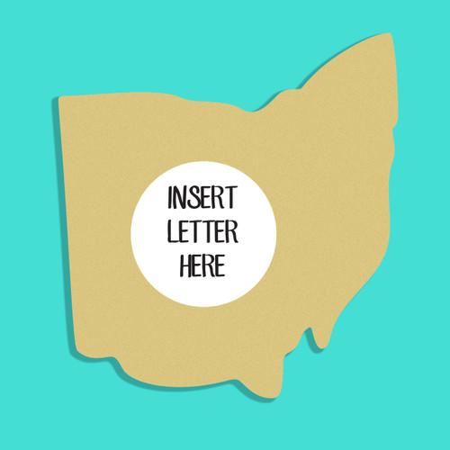 Ohio Frame Letter Insert Wooden Monogram Unfinished DIY Craft