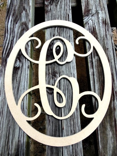 Oval Monogram Letter, Frame Wooden - Unfinished  DIY Craft