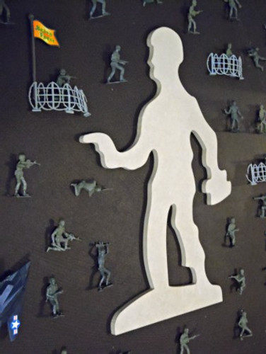 Pistol Man Unfinished Cutout, Wooden Shape, Paintable MDF  Craft