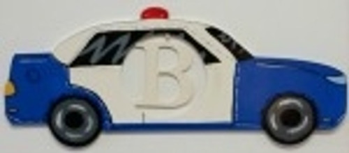 Police Car Frame Letter Insert Wooden Monogram Unfinished DIY Craft