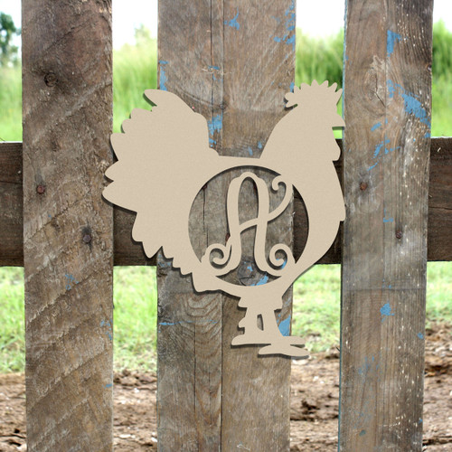 Monogram Letter, Rooster Wooden - Unfinished  DIY Craft