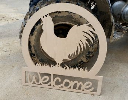 Rooster Sportman Welcome Sign Beadboard Unfinished DIY Craft