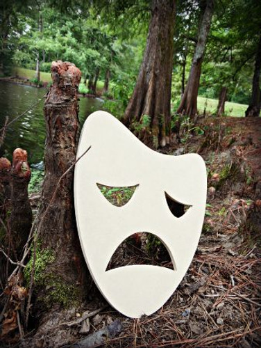 Sad Mask Unfinished Cutout, Wooden Shape, Paintable Wooden MDF DIY