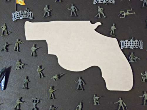 Pistol  Unfinished Cutout, Wooden Shape, Paintable MDF  Craft