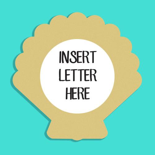 Seashell Frame Letter Insert Wooden Monogram Unfinished DIY Craft