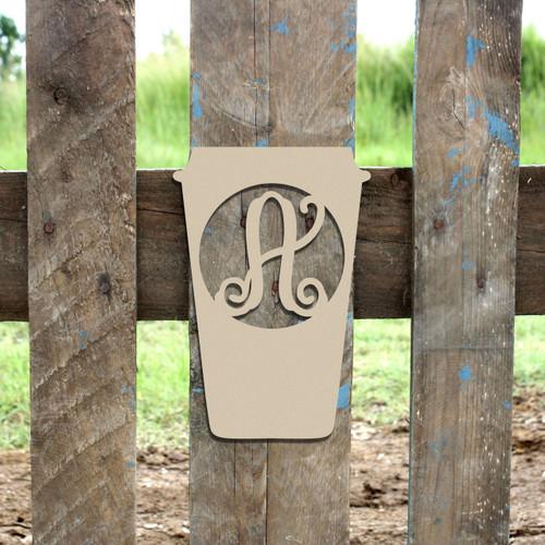 Monogram Wooden Letter Travel Coffee Mug, DIY Unfinished Crafts
