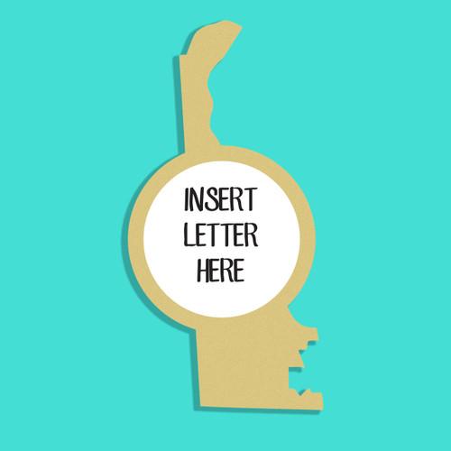 Delaware Frame Letter Insert Wooden Monogram Unfinished DIY Craft