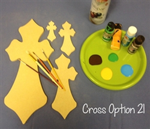 Cross 21 Unfinished Wooden Paintable Wall Hanging Stackable