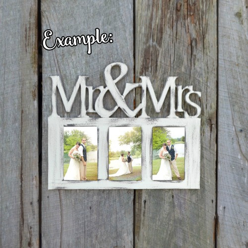 Mr and Mrs Photo Picture Frame Unfinished, DIY