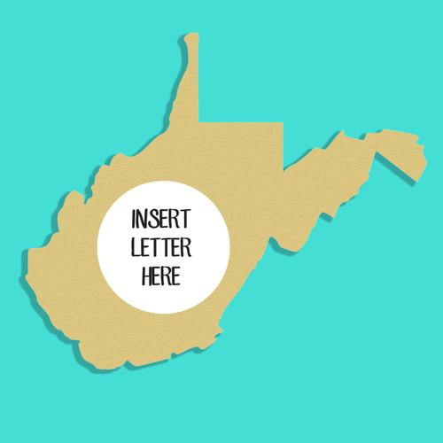 West Virginia Frame Letter Insert Wooden Monogram Unfinished DIY Craft