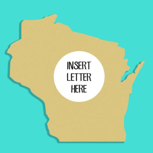 Wisconsin Frame Letter Insert Wooden Monogram Unfinished DIY Craft