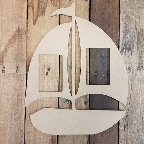 Sailboat Picture Frame, Wood Art, Unfinished Wood Frame, Wall Decor