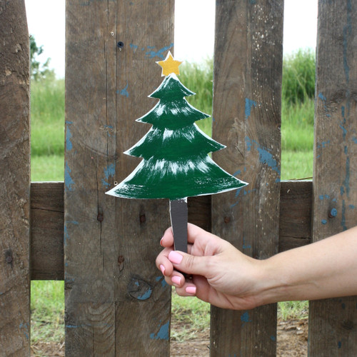 Unfinished outdoor DIY wooden yard art pattern christmas tree with star sign