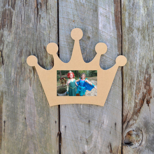 Unfinished Picture Frame Wooden Paintable Wood Crown DIY