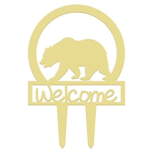 Unfinished outdoor welcome DIY wooden yard art pattern bear sportsman sign