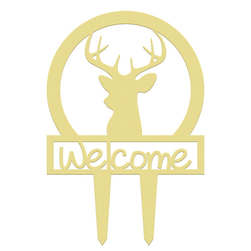 Unfinished outdoor welcome DIY wooden yard art pattern deer head sportsman sign