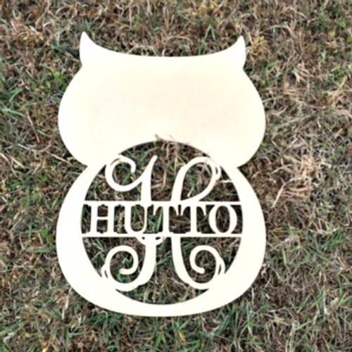 Owl Frame Family Name, Unfinished Framed Monogram