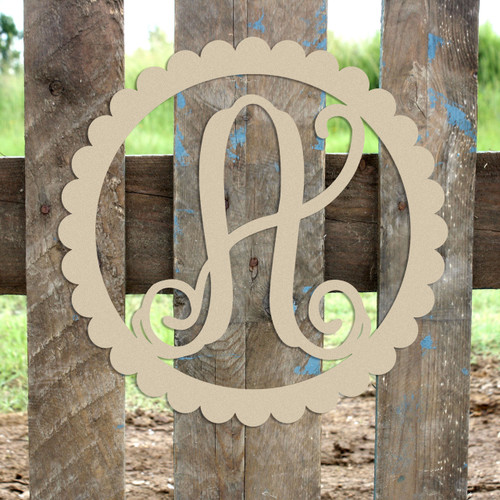 Scallop Circle Framed Monogram Letter Wooden Unfinished DIY Craft