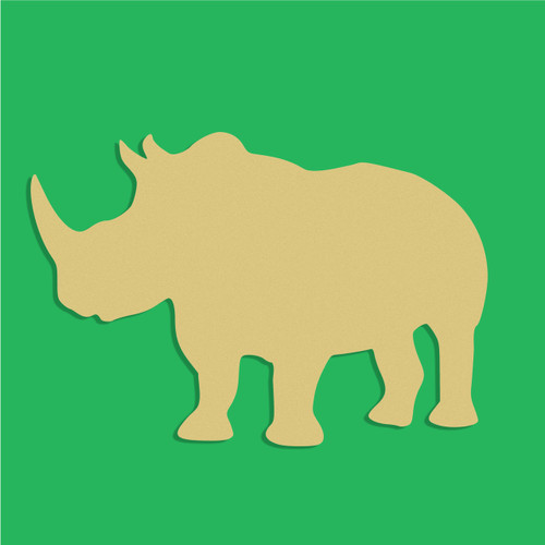 Rhino Unfinished Cutout, Wooden Shape, Paintable Wooden MDF