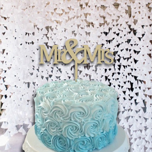 Cake Topper Mr & Mrs Monogram Wooden Unfinished Uppercase Alphabet