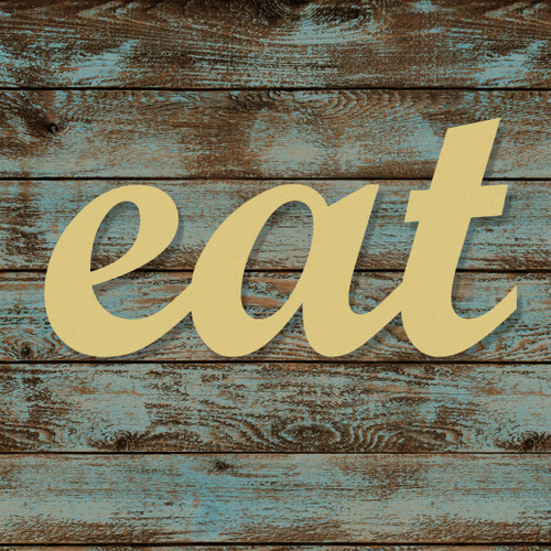 Unfinished Wooden Connected Script Word, eat, Alphabet Paintable DIY