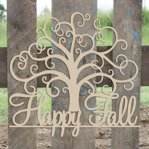 "21"" Happy Fall Tree Unfinished Cutout, Wooden Shape, MDF DIY"