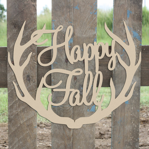 Happy Fall Antler Unfinished Cutout, Wooden Shape, MDF DIY