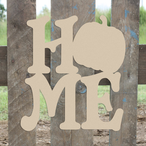Home Pumpkin Sign Wall Art Wooden DIY Craft MDF