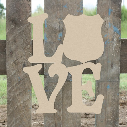 Love Policeman Badge Sign Wall Art Wooden DIY Craft MDF