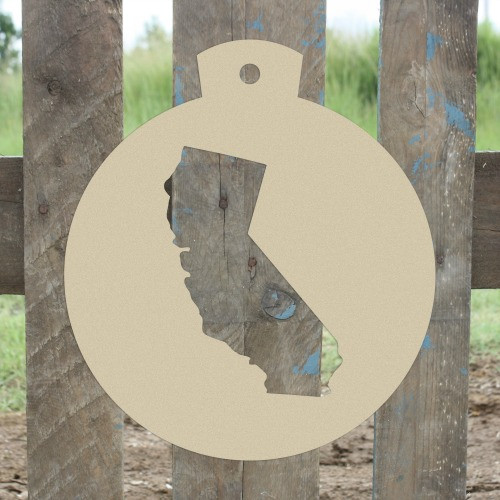 Christmas Ornament California Unfinished Cutout, Wooden Shape
