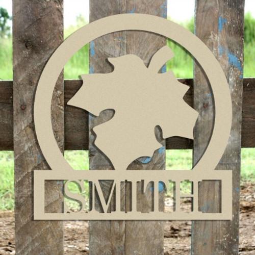 Fall Leaf Frame Family Welcome Sign, Unfinished Framed Monogram