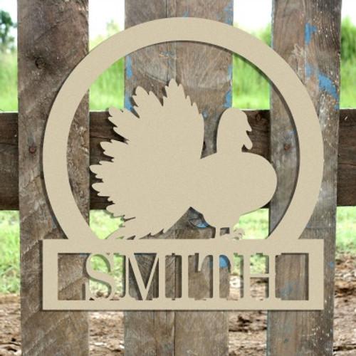 Turkey Gobbler Frame Family Welcome Sign, Unfinished Framed Monogram