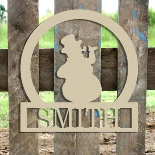 Snowman Frame Family Welcome Sign, Unfinished Framed Monogram