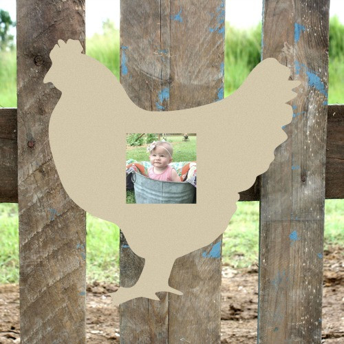 Unfinished Chicken Picture Frame 4 x 4 Wood Paint Wood Art