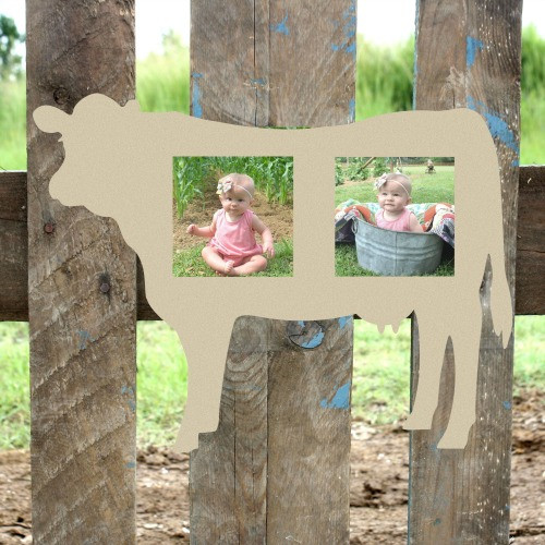 Unfinished Cow Double Picture Frame 4 x 4 Wood Paint Wood Art
