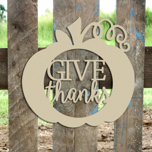 Give Thanks Framed Curly Stem Pumpkin Wooden Cutout