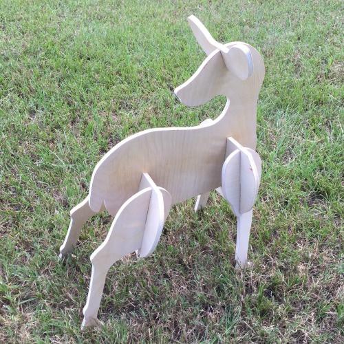 Reindeer Yard Art (Baby Doe) 1/2'' Pine Christmas Decor