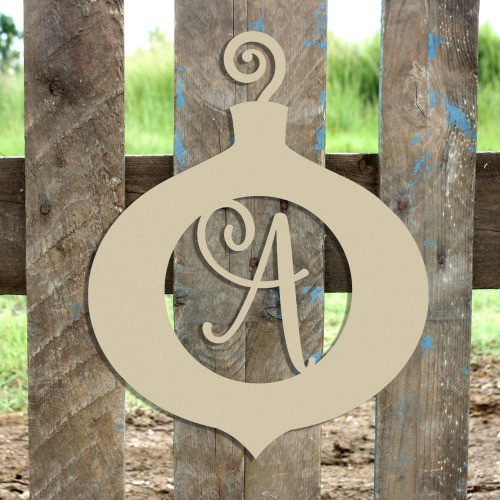 Swirly Initial Ornament Wooden Shape - Unfinished  DIY Craft