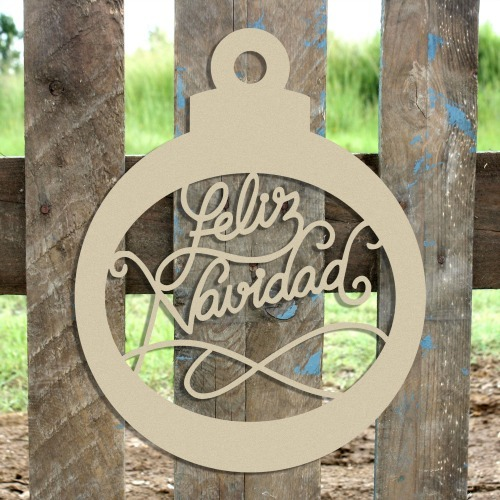 Feliz Navidad Ornament Wooden (MDF) Cutout - Unfinished  DIY Craft