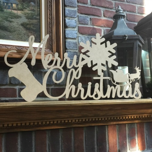 Merry Christmas Script Scene (MDF) Cutout - Unfinished  DIY Craft