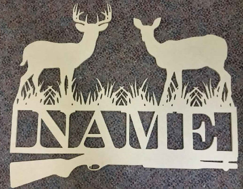 Deer Hunt Frame Family Name, Unfinished Framed Monogram