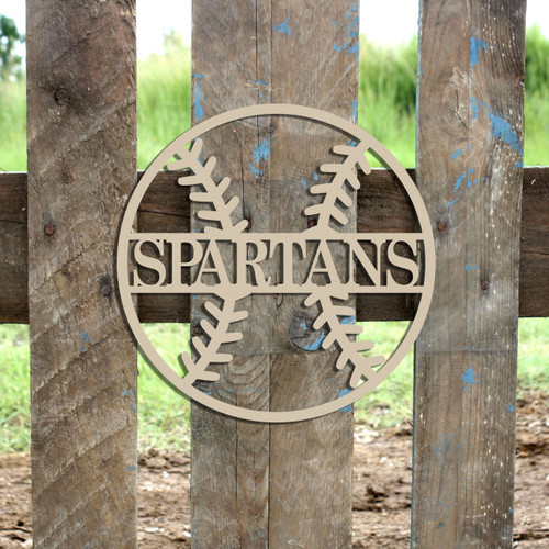 Baseball Outline Name Frame, Unfinished Framed Monogram